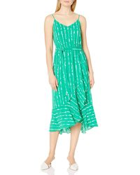 Vince Camuto Sleeveless Ruffle Hem Stripe Belted Dress - Green