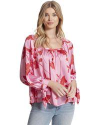 Jessica Simpson Plus Size Trey Feminine Tie Cuff Woven Blouse Top - Pink