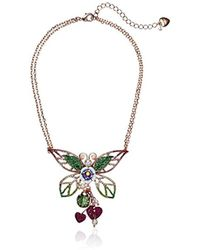 Betsey Johnson - S Colorful Pink And Green Tonal Butterfly Pendant Necklace - Lyst