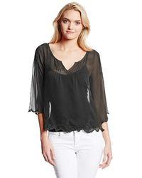 Jessica Simpson Nashville Slit Neck Solid Blouse - Black
