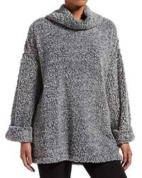 Kendall + Kylie Marled Cowl Neck Bed Jacket - Gray