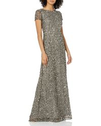 Adrianna Papell Short Sleeve All Over Sequin Gown - Multicolor