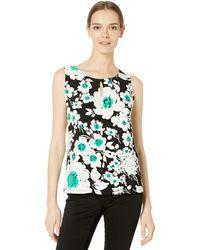 Nine West Sleeveless U-neck Printed Knit Top - Black