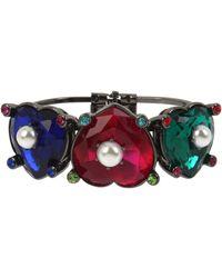 Betsey Johnson Stone Heart Hinged Bangle Bracelet - Multicolor