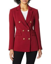 C/meo Collective Visceral Double Breasted Notch Collar Blazer - Red