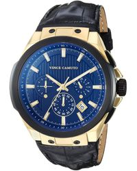 Vince Camuto Multi-function Gold-tone And Black Croco-grain Leather Strap Watch