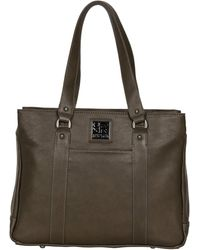 """Kenneth Cole Reaction Hit Pebbled Faux Leather Triple Compartment 15"""" Laptop Business Tote - Brown"""
