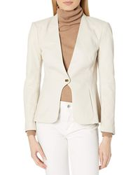 Halston Womens Leather Combo Jacket