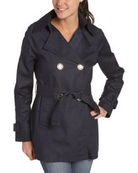 MICHAEL Michael Kors Double Breasted Denim Trench - Blue