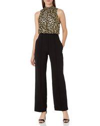 Donna Morgan Halter Metallic Jacquard Top Stretch Crepe Bottom Jumpsuit - Black