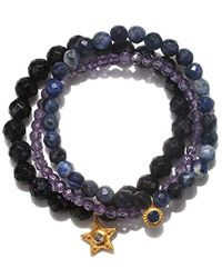 Satya Jewelry - Goldstone, Sodalite, Amethyst, Blue Sapphire Gold Star Stretch Bracelet Set, Multi, One Size - Lyst