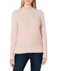 Lucky Brand Crew Neck Waffle Knit Sweater - Pink