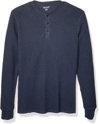 Amazon Essentials Regular-fit Long-sleeve Waffle Shirt - Blue