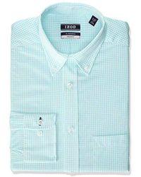 Izod Regular Fit Stretch Check Buttondown Collar Dress Shirt - Blue