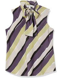 Nine West Sleeveless Tie Neck Stripe Blouse - Multicolor