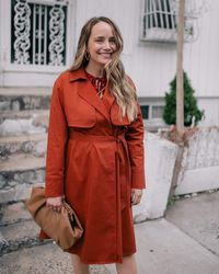 The Drop Cinnamon Open-front Trench Coat By @graceatwood - Red