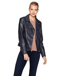 Kenneth Cole Distressed Vegan Leather Moto With Zipper Details - Blue