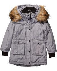 Steve Madden Girls Girls' Little Long Outerwear Jacket - Gray