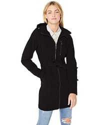 BCBGeneration Soft Shell Center Front Zip Coat With Hood - Black