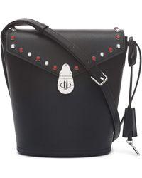 Calvin Klein Statement Series Lock Flap Daytonna Leather Bucket Crossbody Bag - Black