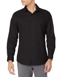 Kenneth Cole Reaction Dress Shirt Slim Fit Stretch Collar Non Iron Solid - Black
