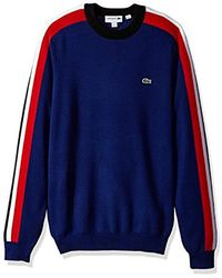 Lacoste - Mouline Jersey & Jacquard Wool Blend Sweater With Stripes - Lyst