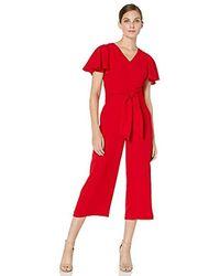 Tahari Flutter Sleeve Tie Waist Jumpsuit - Red