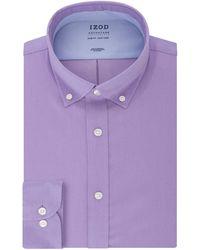 Izod Dress Shirt Slim Fit Stretch Fx Cooling Collar Solid - Purple