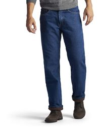 Lee Jeans Fce And Flannel Lined Relaxed-fit Straight-leg Jeans - Blue