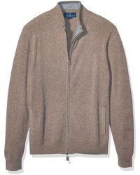 Buttoned Down 100% Premium Cashmere Full-zip - Brown
