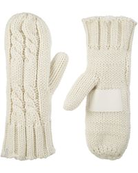 Isotoner Womens Chunky Cable Knit Sherpasoft Cold Weather Mittens - White