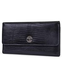 Timberland S Leather Rfid Flap Wallet Clutch Organizer - Black