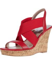 Charles David Wedge Sandal Platform - Red