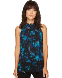 Ellen Tracy Petite Size Mixed Print Overlay Shell - Blue