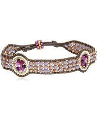 Miguel Ases Raspberry Molecular Brown Leather Slip-knot Bracelet - Pink