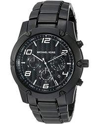 448b75c0a Michael Kors Watch Mercer Black Leather Strap in Black for Men - Lyst