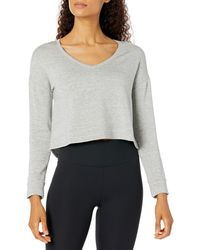 Core 10 Cloud Soft Cropped Flow V-neck Relaxed Fit Yoga - Gray