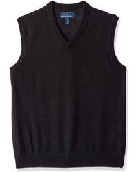 Buttoned Down Italian Merino Wool Lightweight Cashwool Sweater Vest - Black