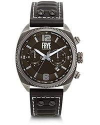 Frye Men's Moto Engineer Chronograph Black Leather Strap Watch, 48mm
