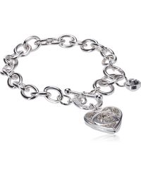 Guess Toggle Chain Bracelet With Logo Heart Link Charm Bracelet - Metallic