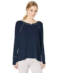 Michael Stars Womens Madison with Contrast Long Sleeve Notch Neck Hi Low