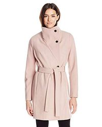 Ivanka Trump Belted Melton Coat - Pink