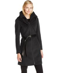 SOIA & KYO Arya Belted Wrap Wool Coat - Black