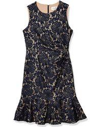 Eliza J Sleeveless Dress Peplum Hem - Blue