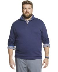 Geoffrey Beene Big & Tall Tall Long Sleeve Stretch Twill 1/4 Zip Pullover - Blue