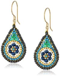 Miguel Ases - Small Floral Swarovski Contrasted Teal Tear Drop Earrings - Lyst
