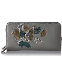 Anne Klein Slim Zip Around Wallet - Metallic