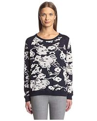 Joan Vass - Floral Sweater - Lyst
