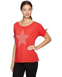 Marc New York Embellished Cold Shoulder Star Tee - Red