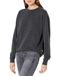 RVCA Womens Mica Burnout Pullover Crew Neck Sweatshirt - Black
